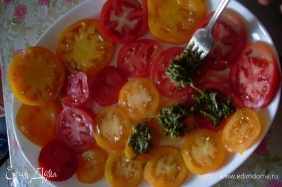 Нарезать помидоры кружочками и разложить на плоском блюде. На каждый кусочек сверху добавить немного песто.