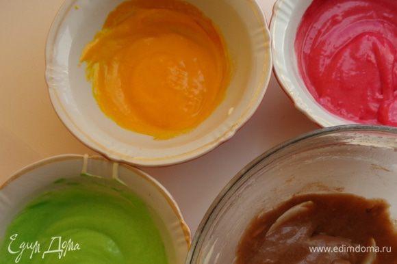 Сделать тесто 3 для рисунка: взбить белки с пудрой, добавить растопленное масло и муку, тщательно перемешать. Разделить тесто на несколько частей и добавить красители.