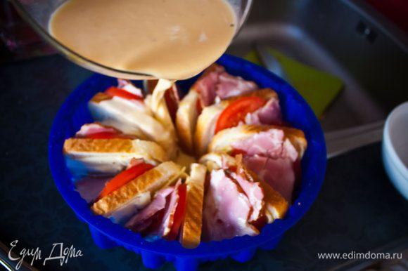 6) влейте в форму смесь из яиц