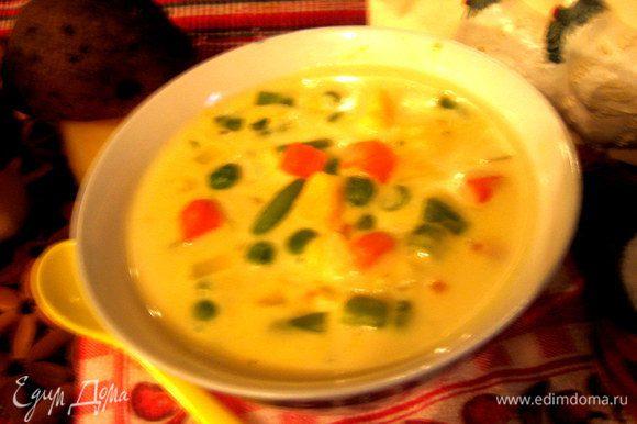 После закипания солим и варим 5-10 минут,пробуя на готовность овощи.