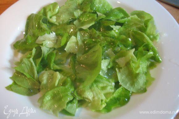 Листья зеленного салата вымыть высушить, нарвать на кусочки. Порванный салат заправить оливковым маслом и лимонным соком.