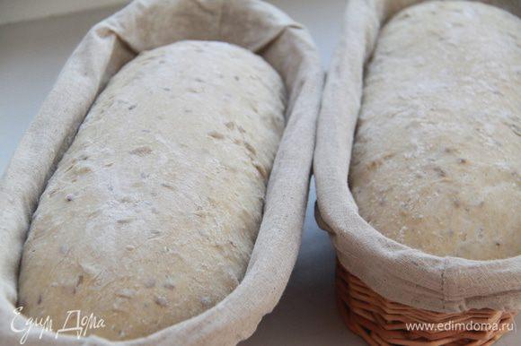 Через полтора часа хлеб выглядит так.