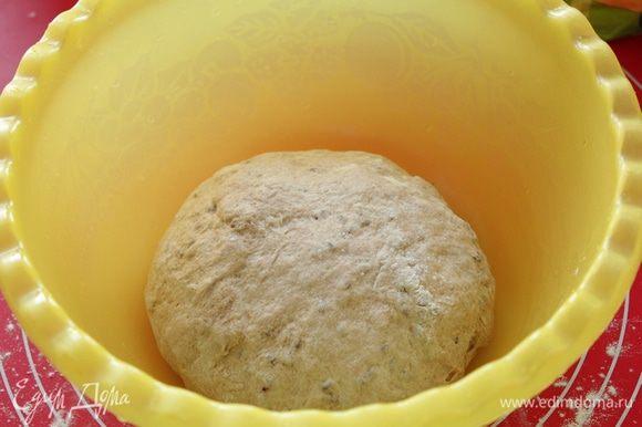 Переложите тесто в смазанную раст.маслом миску,затяните пленкой и оставьте для брожения на 1-1,5 часа до увеличения в двое,с обминкой через 30мин