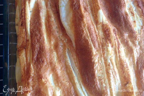 Ставим пирог в разогретую до 200 градусов духовку. Пирог будет готов когда верх приобретет золотисто-коричневатый цвет. У меня ушло минут 20-25, но смотрите по своей духовке!