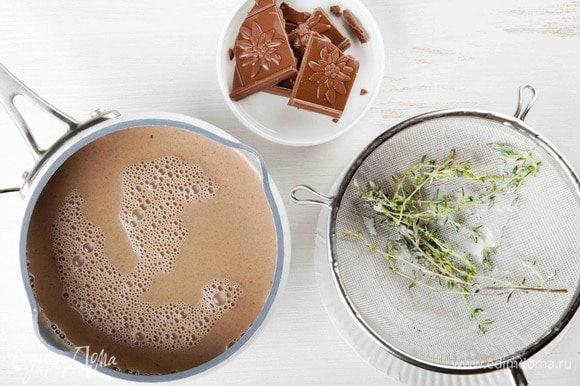 Влить молоко со сливками снова в кастрюлю, добавить шоколад и растопить его на медленном огне, не доводя до кипения.