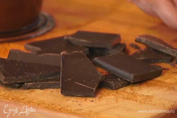 Шоколад поломать на кусочки.