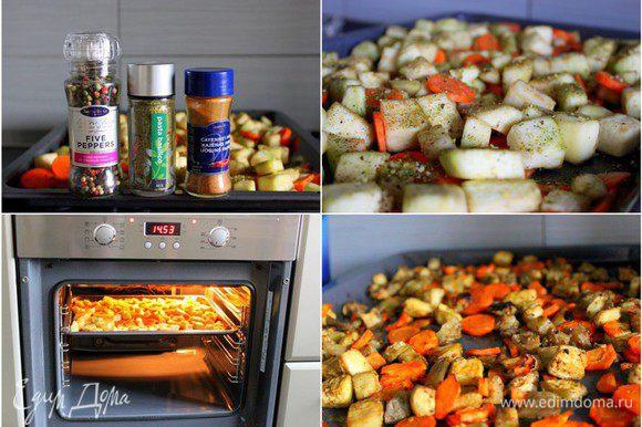 Баклажаны, морковь и 3 зубчика чеснока чистим, режем, поливаем 2 ст.л. масла. Солим, перчим, посыпаем базиликом. Отправляем запекаться в разогретую до 200 гр духовку на 40 мин. Раза 2 можно открыть, овощи перемешать. Только аккуратно! Баклажаны должны сохранить форму.