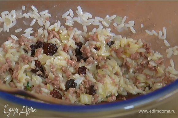 Соединить рис и фарш с изюмом, добавить яйцо, посолить, поперчить и перемешать.