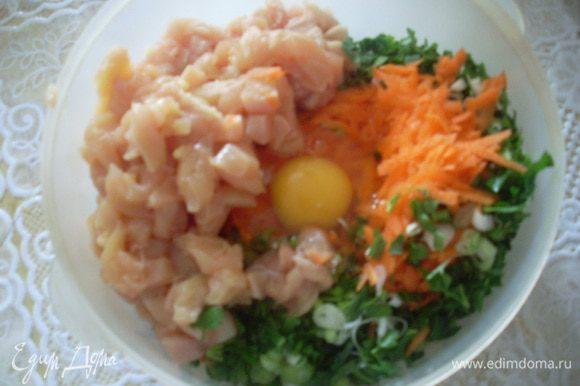 Натереть на терке морковь. Мелко нарезать лук и петрушку. Кубиками нарезать куриное филе. Все соединить с 1 крупным яйцом, посолить (у меня чайная ложка соли без горки).