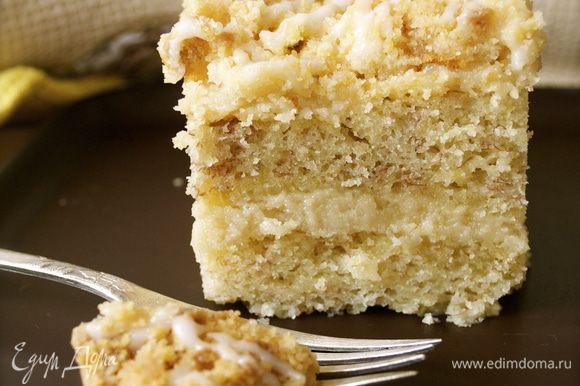 Очень вкусное нежное пирожное, с кремовой прослойкой внутри! ;))