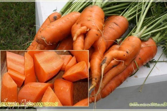 Морковку почистить и покрошить. Вот на такие кусочки.