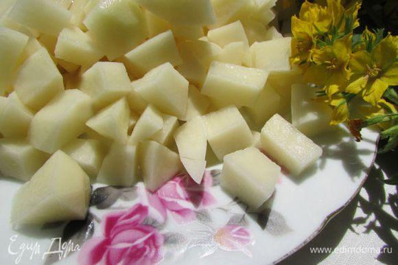 Картофель почистить и нарезать кубиками.