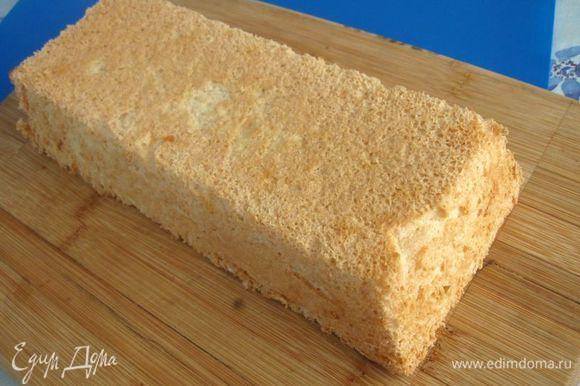 Чтобы вынуть бисквит, надо провести ножом вдоль стенок формы и постучать несколько раз формой по столу.