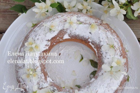 Готовность кекса проверить деревянной шпажкой. Готовый кекс остудить и посыпать сахарной пудрой. Готовый кекс посыпать сахарной пудрой.