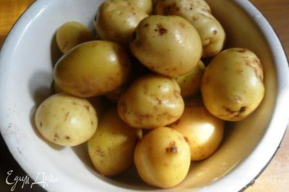 Молодой картофель вымыть, обсушить.
