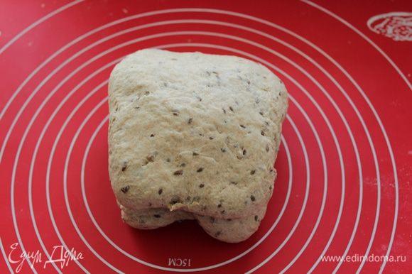 Свернуть тесто конвертом, поставить в теплое место на 40 мин.
