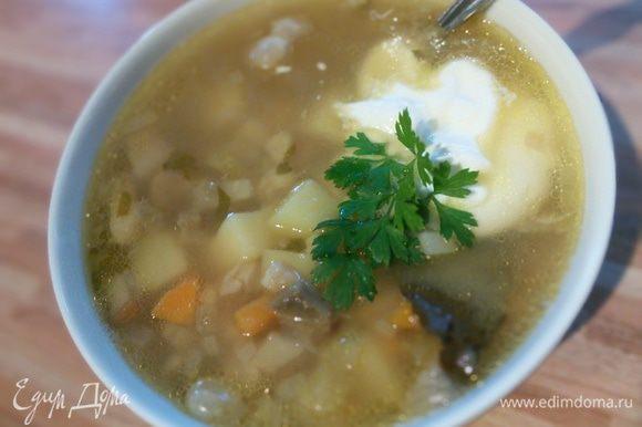 Подавать со сметаной. И совет от меня: попробуйте плеснуть в тарелочку с супом немного соевого соуса. Приятного аппетита!