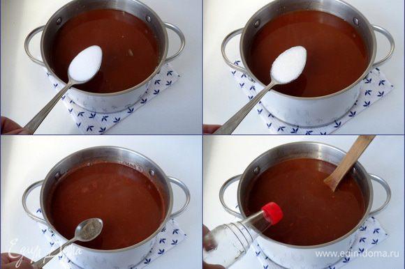 Всыпать соль, сахар, перец и пять-шесть капель уксусной кислоты 70%. Кастрюлю опять поставить на огонь и довести до кипения.