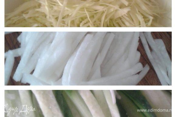 Овощи помыть, почистить. Капусту нашинковать, редьку и огурец нарезать соломкой, посолить, поперчить добавить изюм, мелко порубленную зелень и зеленый горошек.