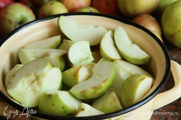 Берем любые хорошо зрелые яблоки, моем, режем на четвертинки, чистим середину