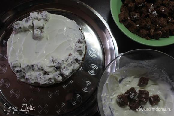 Первый корж хорошенько смазываем кремом (кто любит совсем влажные торты, то пропитайте его каким-нибудь сиропом). Обмакиваем кубики в крем и выкладываем в хаотичном порядке на корж (это дело можно доверить вашим маленьким помощникам)))).