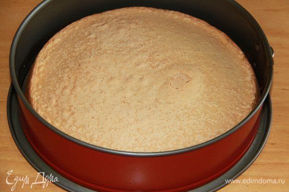 Начинаем с бисквита. Яйца взбить с сахаром с помощью миксера, постепенно ввести муку. Вылить в форму (ничем не смазывать!) и выпекать в разогретой до 180*С духовке 30 минут. Дать бисквиту остыть в форме, перевернув вверх дном на решётку. Бисквит желательно испечь заранее, за сутки до окончательной сборки торта: так бисквит созреет и хорошо разрежется.