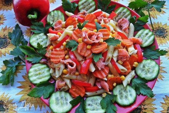 Подавать сбрызнув оливковым маслом. Паста добавит сытности овощам,а рыбка дополнит приятным пикантным вкусом. Угощайтесь, друзья!!!