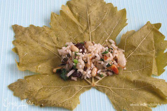 Положите виноградный лист прожилками вверх, на основание листа, у черешка, немного отступив от края, положите 1 ст. л. начинки.