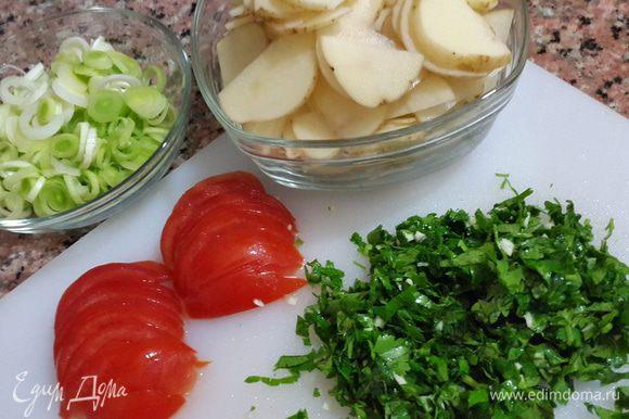 Картофель моем щеткой и режем тоненькими пластиками, лук - кружочками, помидоры полукружочками. Петрушку и чеснок мелко рубим и перемешиваем между собой.