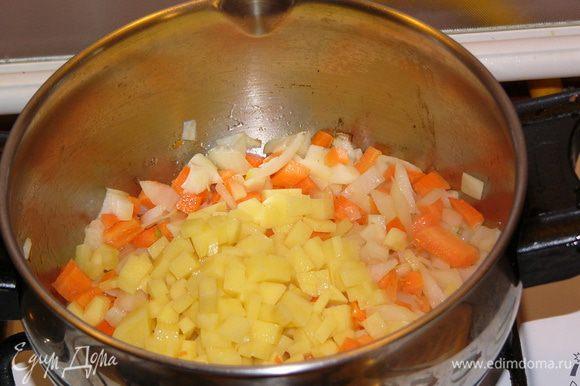 В кастрюле, где будет вариться суп, обжарить на оливковом масле лук, морковь, картофель около 3 минут.
