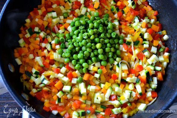 Добавить к овощам 2 ст.л. отложенного горошка, всё перемешать и готовить ещё 5 минут. Посолить и поперчить по вкусу.
