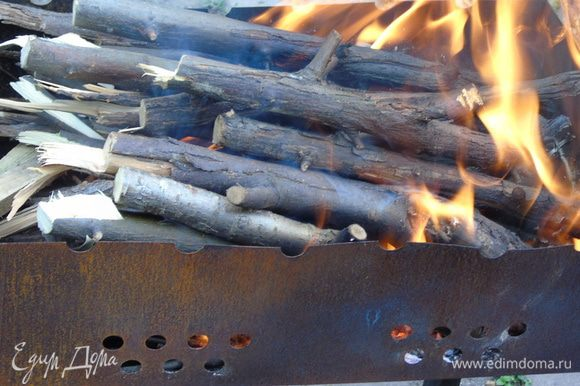 Пока рыбка настаивается приправами мы разжигаем мангал)