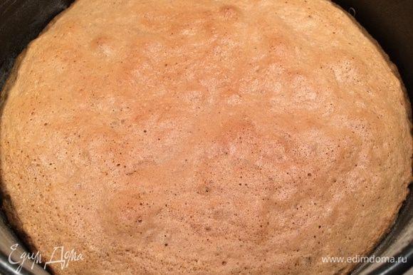 Разъемную форму 20 см смазываем сливочным маслом, на дно кладем промасленный пергамент, а бока формы обсыпаем мукой. Выкладываем тесто, выпекаем 15 минут. Затем нужно приоткрыть дверцу духовки и дать бисквитному коржу полностью остыть.