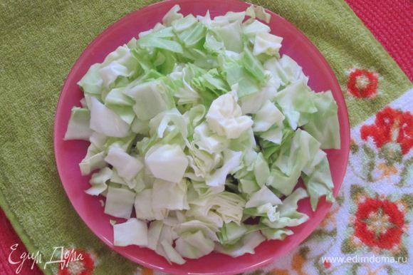 Белокочанную капусту вымыть, нарезать средними кубиками.