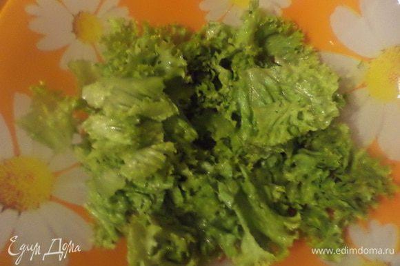 В салатник выложить порванные листья салата, редис, огурцы, картофель, зелёный лук.