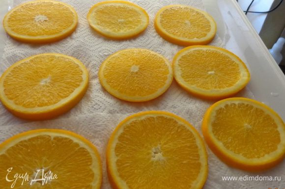 Вымоченные апельсины выложить на полотенце, обсушить и опять поместить на сковороду. Залить сиропом и поставить на очень маленький огонь.