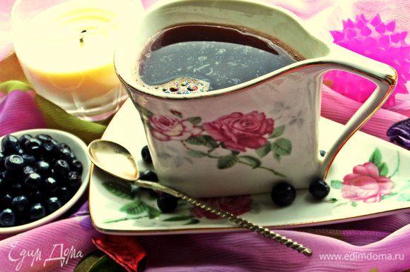 Очень вкусный летний напиток! Да и зимой с замороженной черникой тоже запросто можно сделать.