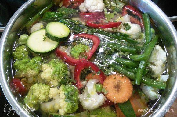 Залить бульоном, добавить овощи и медленно довести до кипения. Добавить листики тимьяна. Кастрюлю накрыть крышкой и варить суп на медленном огне 10-15 мин.