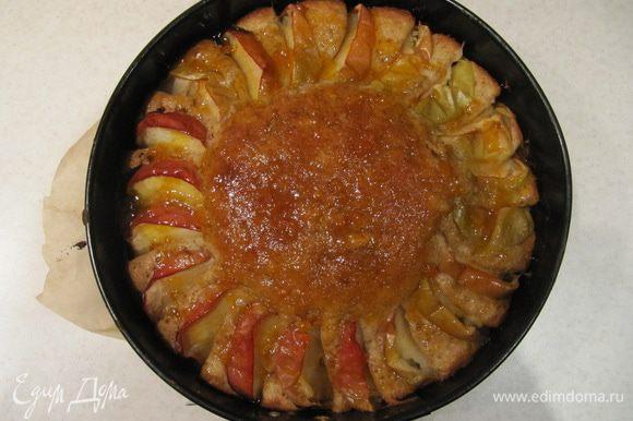 Пирог вынуть из духовки. Остудить, пока готовите абрикосовую пропитку. Покрыть верх пирога абрикосовой пропиткой и оставить остывать.