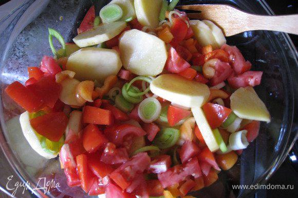 Картофель порезать кружочками, помидоры и перец - крупными кубиками, лук-порей - кружочками, но только белую часть. Фасоль предварительно отварить в слегка подсоленной воде. Взять термостойкую посуду, поставить на огонь и смазать оливковым маслом. Выложить картофель и сверху еще немного полить маслом. Хорошо перемешать. Протушить 5 мин. Добавить помидоры, перец, лук-порей. Протушить 5 мин.