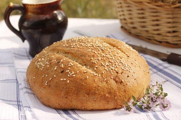 Духовку разогреть до 180-200 градусов. Выпекать 30-35 минут (зависит от духовки). Готовый хлеб остудить на решетке.