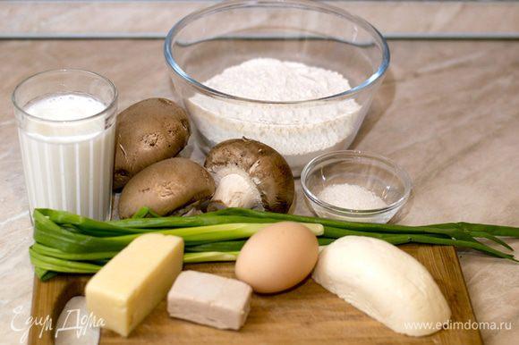 """А нашлось там: примерно по 150 грамм Адыгейского и Российского сыра, яйцо, стакан кефира, 25 грамм дрожжей, 250 грамм грибов и немного лука. И внутренний голос прошептал: """"Просто добавь муки""""."""