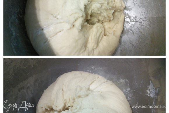 В день выпечки вынуть тесто из холодильника и оставить на 1,5 часа при комнатной температуре для акклиматизации. Вот так выглядит тесто после расстойки в холодильнике и после 1,5 часов акклиматизации.