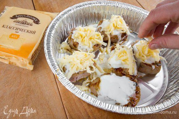 """Посыпаем тертым сыром. С сыром """"Брест-Литовск"""" блюдо получится особенно сочным и ароматным!"""