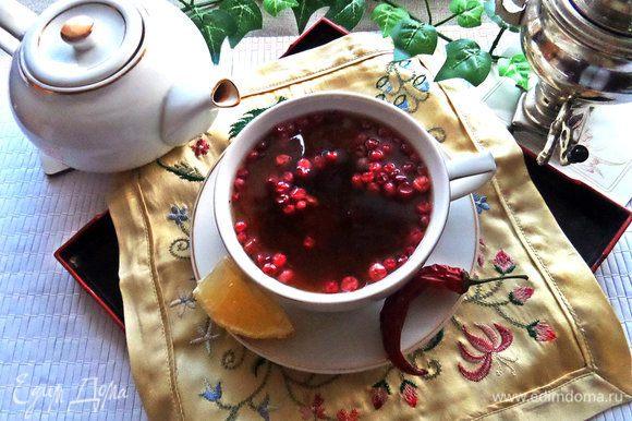 Как я уже сказала, к такому чаю можно ничего не подавать, ягод будет достаточно. Осталось Вам попробовать!