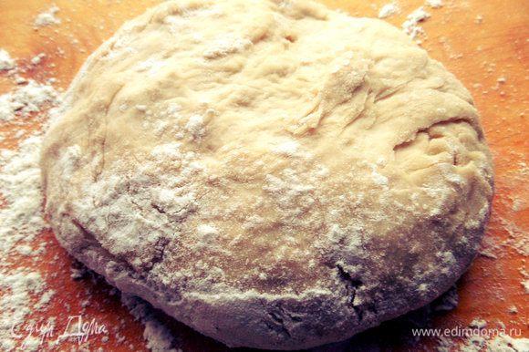 Смешиваем дрожжи в тёплой воде с маслом и солью, всыпаем муку и замешиваем тесто. Накрываем и оставляем в тепле минут на 40.