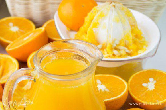 Отжать сок из апельсинов.