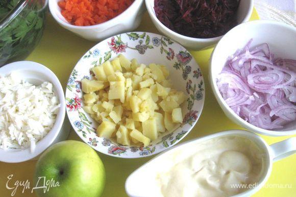 Сварить овощи: свеклу, морковь, картофель. Картофель, морковь вынуть и дать охладиться при комнатной температуре, затем убрать в холодильник. Свеклу залить холодной водой до полного остывания. Красный лук почистить, порезать очень тонкими полукольцами. Сварить яйца вкрутую. Яйца очистить. Отделить желтки от белков, белок натереть на крупной терке, 1 желток оставить, другие — протереть через сито. Морковь порезать мелкими кубиками, так же поступить с картофелем. Свеклу натереть на крупной терке. Каждый из овощей отдельно смешать с небольшим количеством смеси майонеза с горчицей. Яблоко очистить, нарезать жульен, сбрызнуть лимонным соком; в яблоко (отдельно) и в белки добавить майонез.