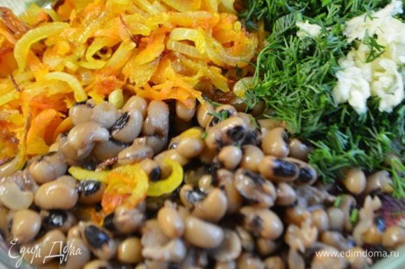 Лук порезать полукольцами. Морковь потереть на крупной терке. Обжарить овощи на сковороде с добавлением растительного масла до мягкости.