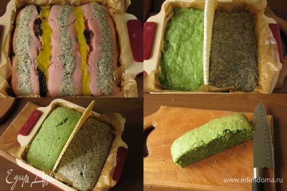 """Выпекаем 1 час при 180°С. Время регулируем по духовому шкафу. Обычно такое тесто выпекается 45 минут, мне этого времени не хватило. Готовим """"траву"""" и """"горшки"""" для цветов. — в форму вливаем зеленое и маковое тесто, разделив форму на две половинки вафельным коржом, выпекаем до готовности, 80 минут. Пляцики обычно высокие торты, за раз не откусишь. Для более низкого торта можно отдельно испечь зеленый и маковый слои. Разрезаем коржи на полосы, каждую по диагонали."""